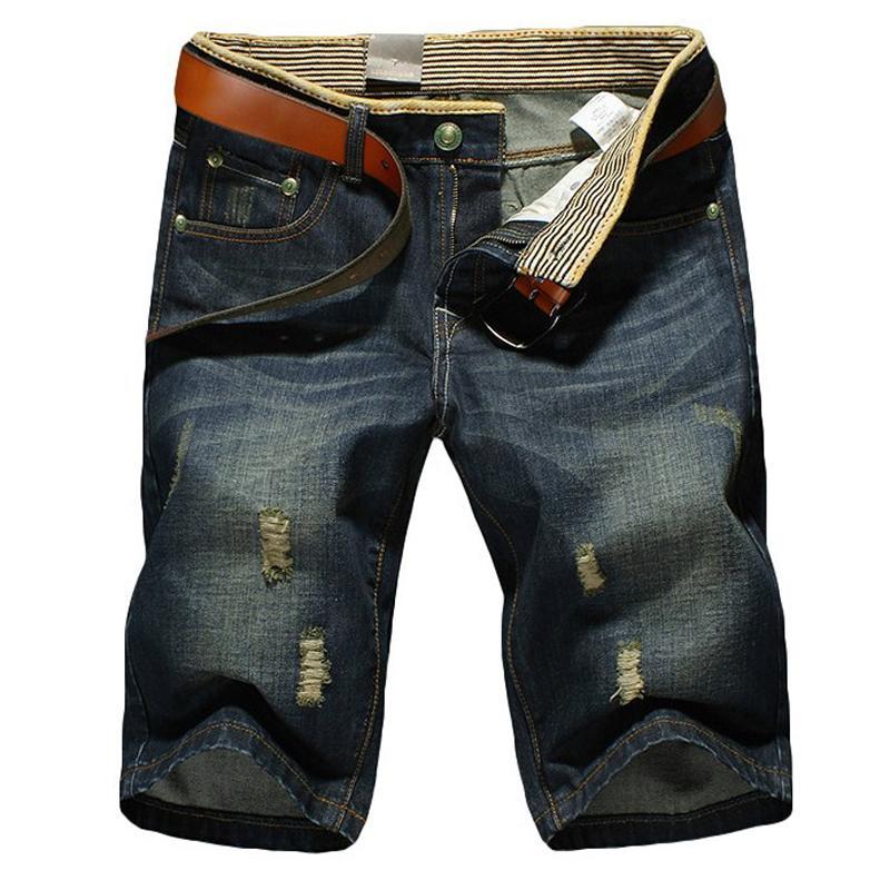 La manera del verano del algodón ocasional de los hombres pantalones vaqueros cortos de los hombres Bermudas Bañadores Vaqueros Pantalones cortos de los hombres s rasgado más el tamaño 28-36