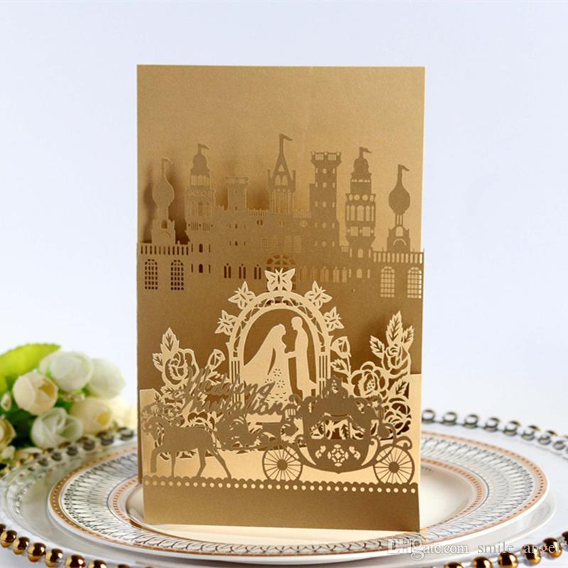 2021 Invitations de mariage Castle Laser Couper Coupes Hollow Favores Cartes d'invitation Fournitures de la fête de la mariée et de l'époux
