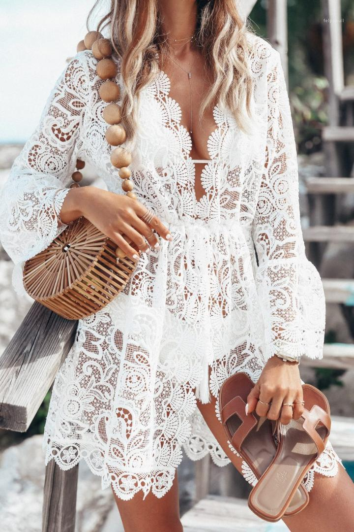 Piping Apparel Lace V-Neck Dresses For Women Sexy Female Panelled Asymmetrical Clothing Summer Casual Long Sleeve