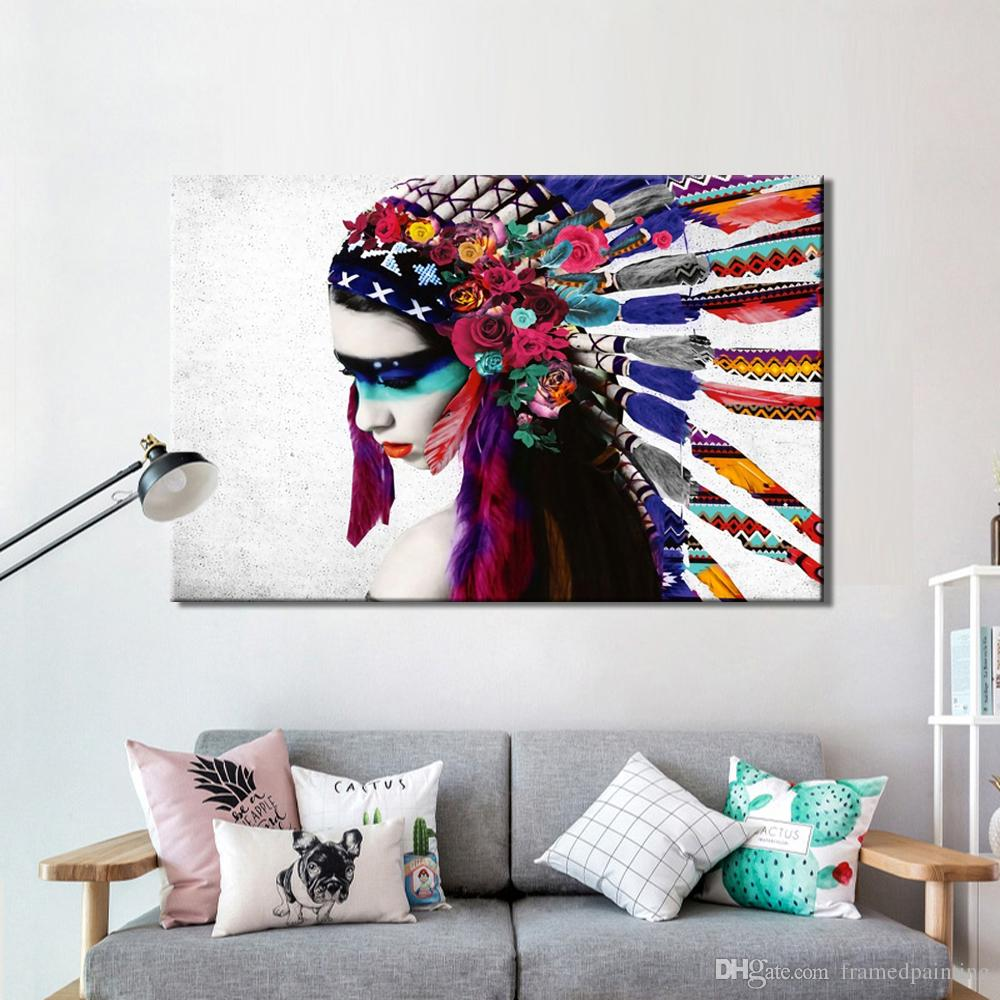 1 Pcs Feathered Girl Portrait Wall Art Canvas Painting Posters and Prints Wall Art Pictures for Living Room Wall Home Decoration No Frame