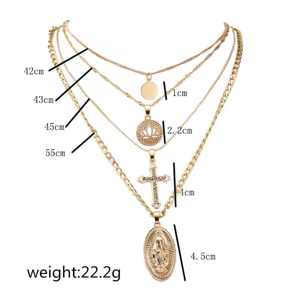 ALYXUY женщины классический круглый полый Лотос Кристалл крест Девы Марии кулон ожерелье многослойные длинные золотые ожерелья мода ювелирные изделия