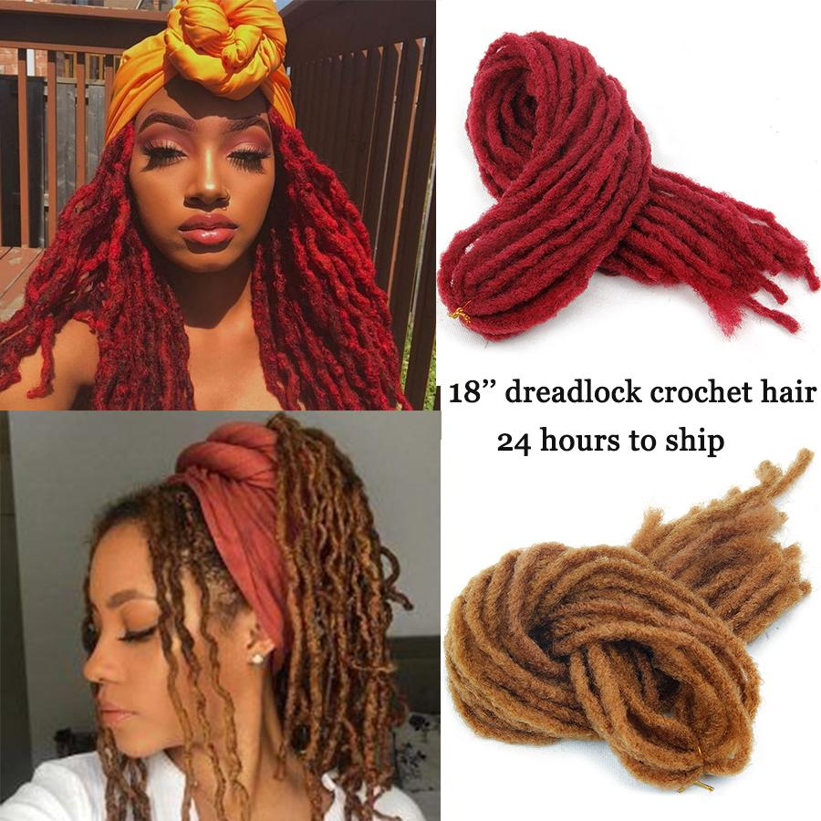 2020 18 Inch Dreadlock Faux Locs Crochet Hair Braid Bob Marley Synthetic Braiding Hair Extensions Bundles For Black Women 90g Piece 24 Strands From Youniquehairfactory 3 46 Dhgate Com