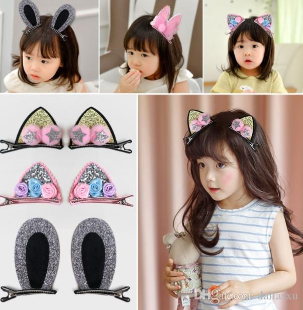 1 pair 2019 HOT Bow Rabbit Ears Headband Girl Ring Scrunchy Kids Ponytail Holder Hair Accessories For Children Hair Band Cute Polka Dot