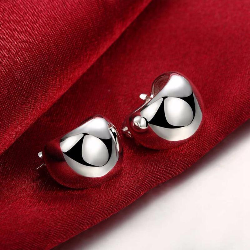 Bubble Circles Creole Hoop Earring for Women Silver Plated Smooth Egg Round Earring Brinco de Prata Fashion Jewelry Accessories