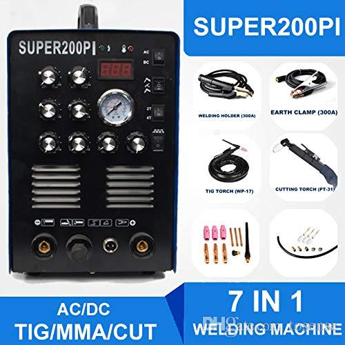 AC/DC Aluminum Steel IGBT TIG/MMA/CUT Welding Machine 7-IN-1 Welder 200A Plasma Cutter SUPER200PI with Some Consumables