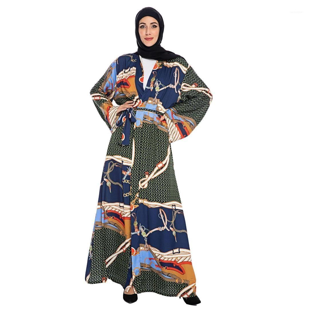 Women Dress Luxury Printed Long-sleeved Arabian Long Robe Dresses Middle East Women Dress Middle Eastern Muslim