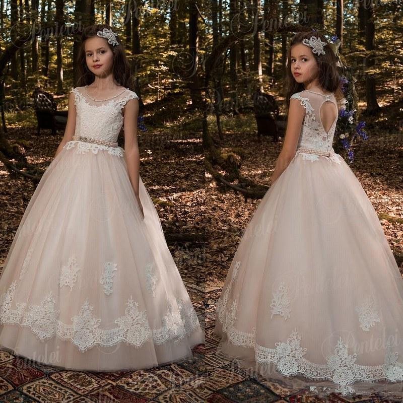 뜨거운 판매 저렴한 블러쉬 핑크 꽃 소녀 드레스 긴팔 티셔츠를 들어 결혼식 레이스 아플리케 볼 가운 생일 소녀 성찬 선발 대회 가운