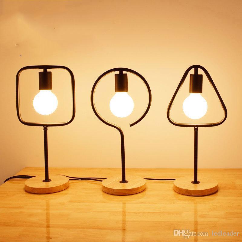 Geometría Soporte sencillo Mordern E27 lámpara de mesa de madera Plaza Circular del triángulo LED Desk Light - LE15