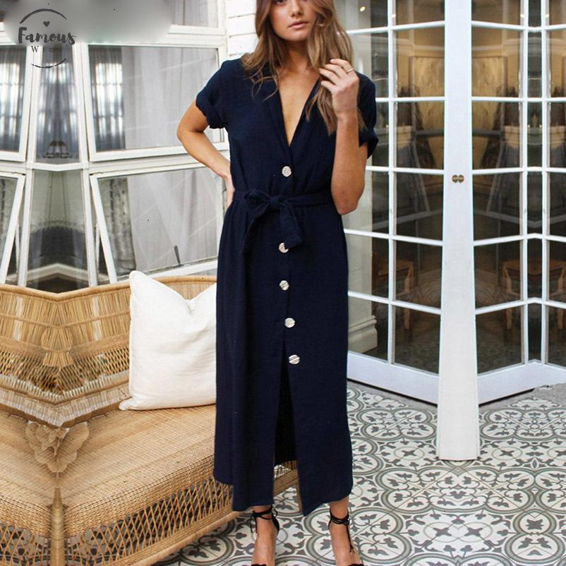 2020 Sashes Summer Long Askle Length Dresses Women Cotton White Sexy V Neck Straight T Shirt Woman Loose Clothes