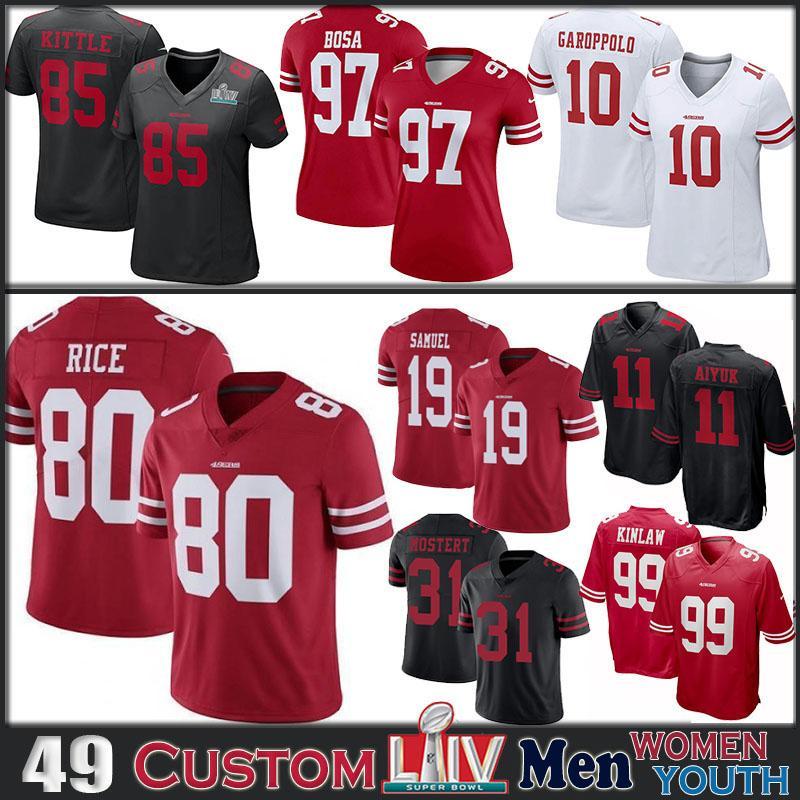 85 George Kittle San Francisco49erÖzel Erkek Bayan Çocuk Futbol forması 99 Javon Kinlaw 11 Brandon Aiyuk 31 Raheem Mostert formaları