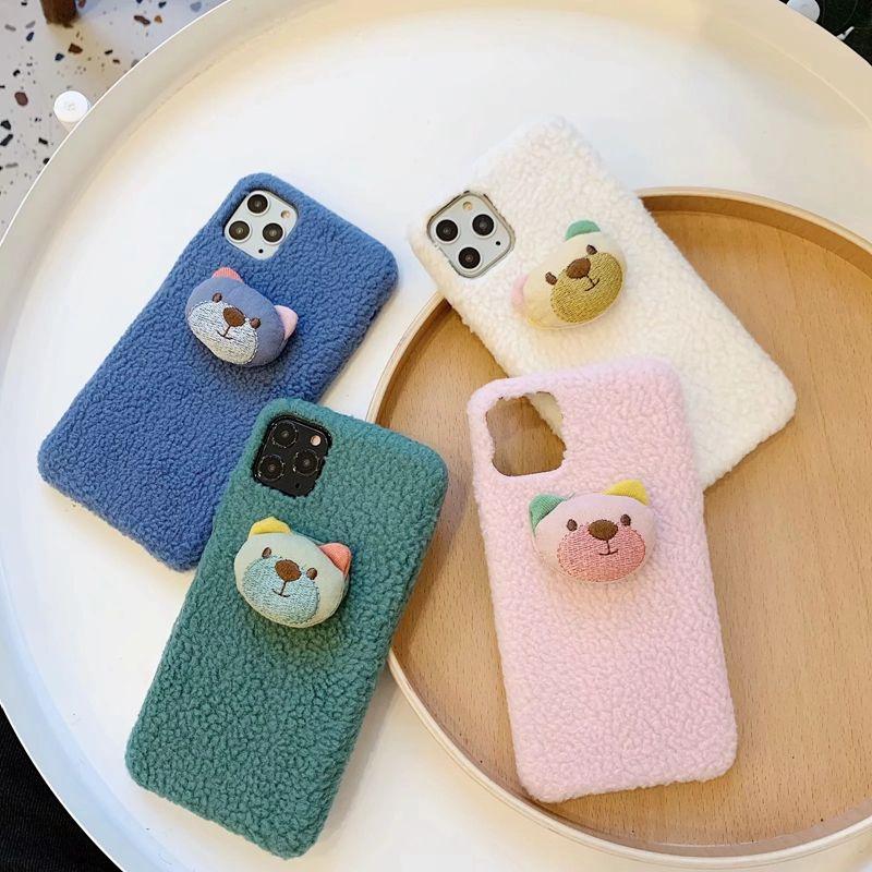 3D Cute Cartoon Sheep Fur Hard PC Plastic Case For iPhone 11 Pro Max XR XS X 8 7 6 Bear Lion Rabbit Animal Fluffy Fur Cell Phone Cover Skin