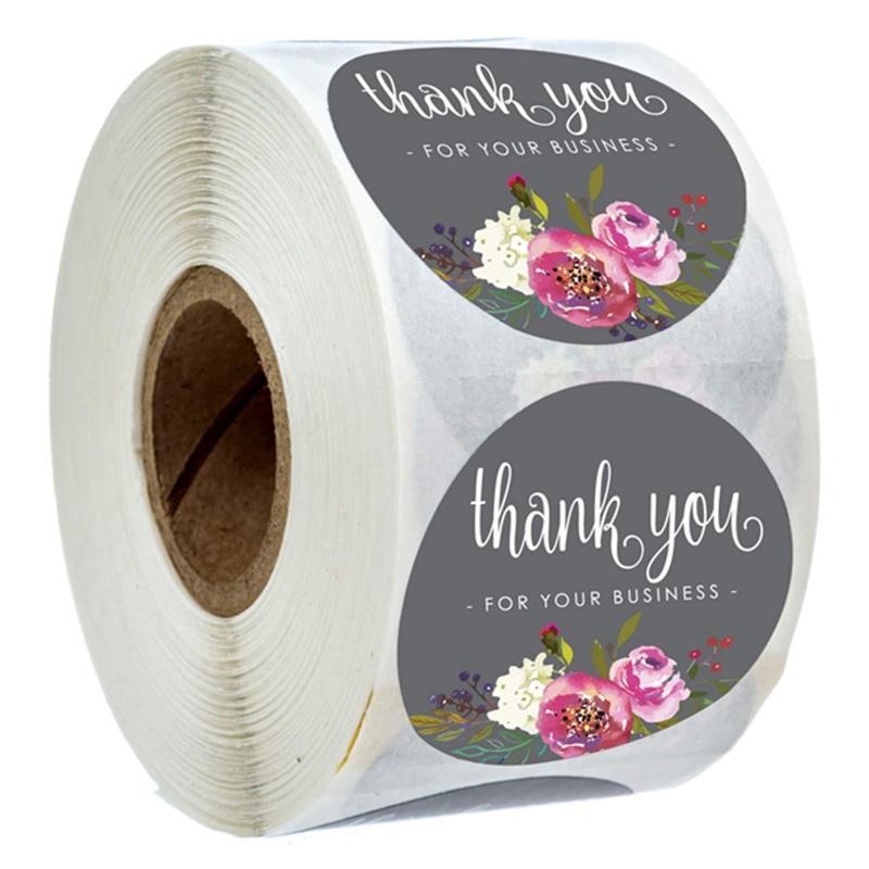 500pcs / rouleau floral vous remercient autocollants Merci pour votre entreprise de papier couché Seal Étiquette autocollants main Craft Enveloppe Carte Invitation