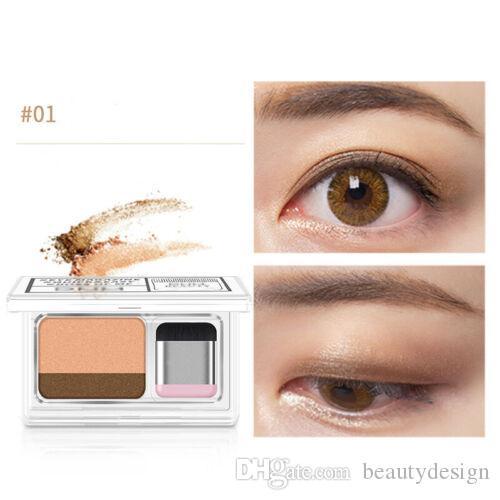 3 secondi Eyeshadow Donne Girls Doppi Strati Due strati Gradazione colorata Cosmetici con pennello divertente leggero