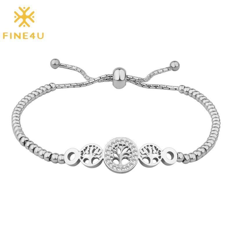Árvore Aço FINE4U B325 inoxidável da pulseira vida com Cubic Zirconia Ajustável Deslize Cura bracelete frisado para mulheres dos homens