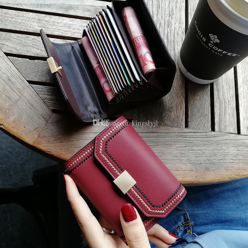 Enfilez titulaire de la carte de la femme en peau de vache véritable identité de crédit en cuir passeport Business Card Designer Holder Porte-Monnaie Ladies Wallet court
