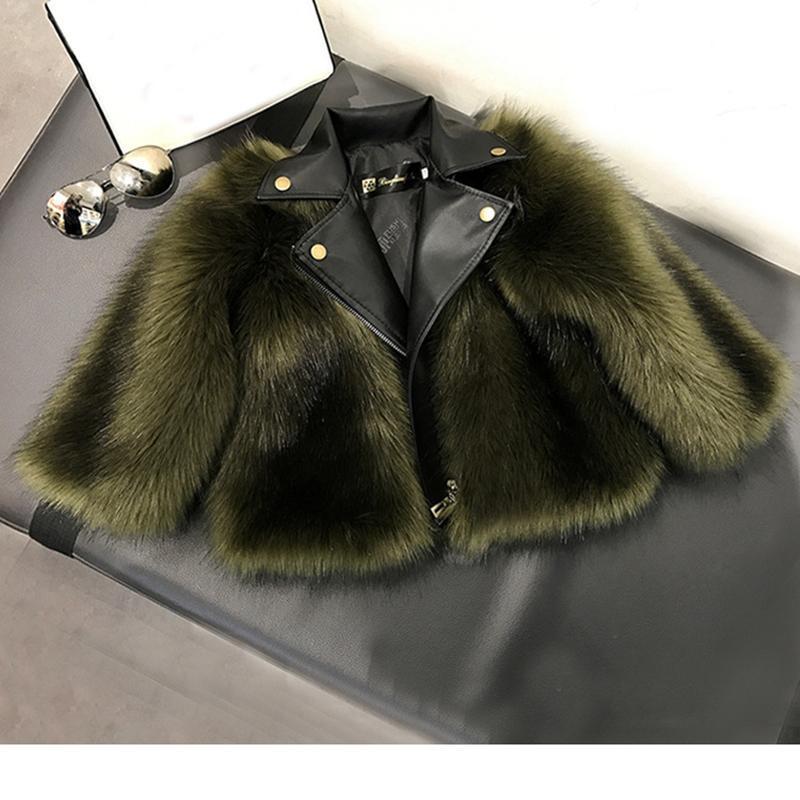 Designer-Girl Fur Coat Jacket Imitation Fox Artificial Fur Grass High Quality Plush+leather Fake 2 Pieces Winter Kids Baby GirlClothes