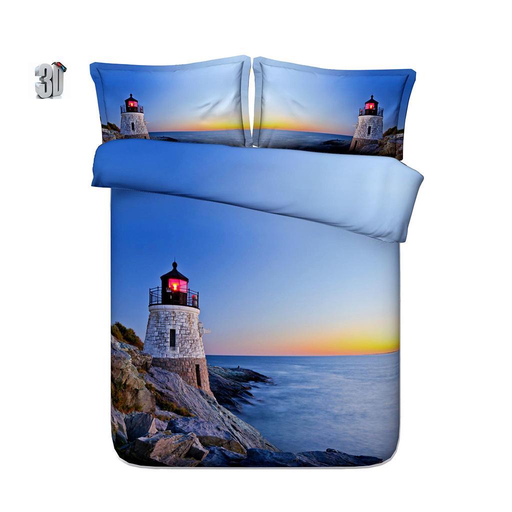 3D tramonto Faro Stampa Bedding copripiumino con federa, Microfibra Consolatore Copertina, chiusura a cerniera, NO Quilt 3PCS 150x200cm