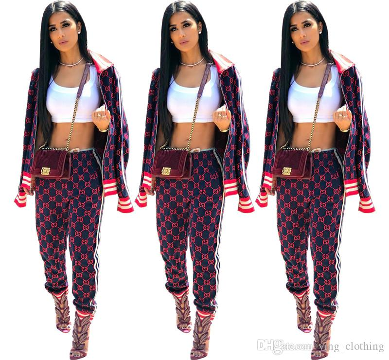 Women Tracksuit Two Piece Set Jacket+Pants Zipper Sports Suit Long Sleeve Outfits High Neck Tops+Leggings Fall Winter Fashion Clothing 2125
