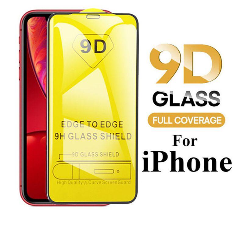 9D en verre trempé pour IPhone 11 / 11Pro / 11 ProMax X / X XR XSMax 7P / 8P 7/8 Anti-Scrath écran avant Protecteur Film Fullscreen