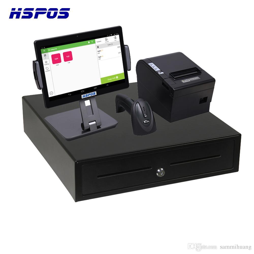 HSPOS Горячие продажи 10-дюймовый Android сенсорный экран точки продажи POS-терминал с принтером и Bluetooth и сканер штрихового кода Cash Box