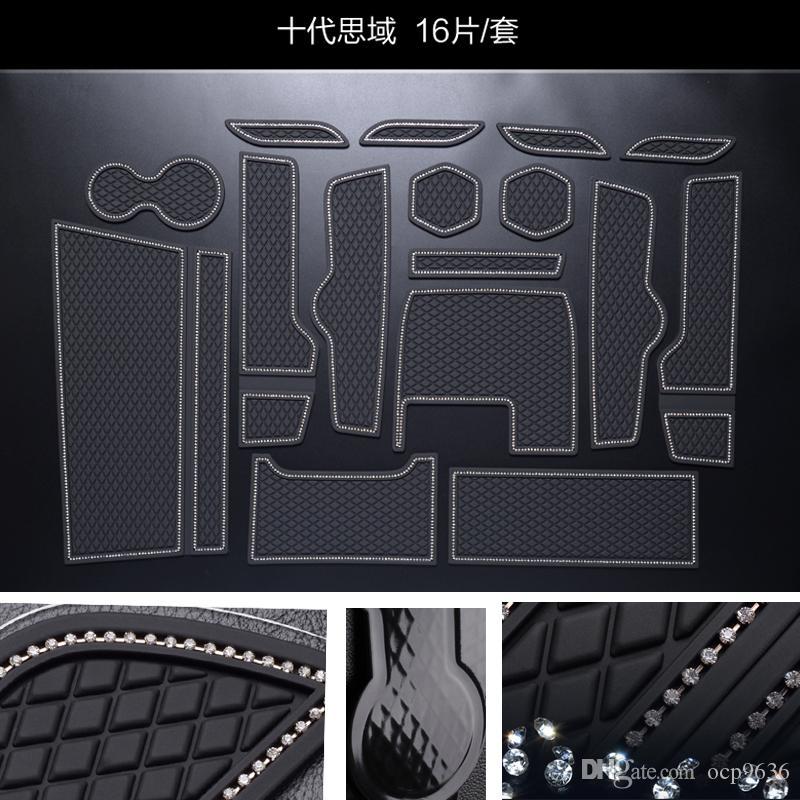 Tapis de porte / tapis de porte en caoutchouc intérieur de tampon de fente de porte pour Honda Civic 10e tapis antidérapant 16pcs