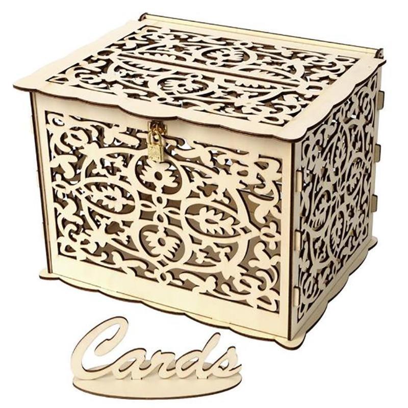 Подарочная обертка Большой деревенский конверт карты коробки блокировки слот свадьба, веселая цветочная деревянная коробка как картина