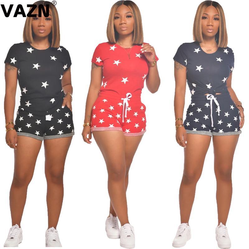 VAZN Yaz moda 2020 seksi kız 3 renk sstars 2 parçalı kısa set kısa kollu O-boyun tee şort gündelik şık setleri set yazdırmak