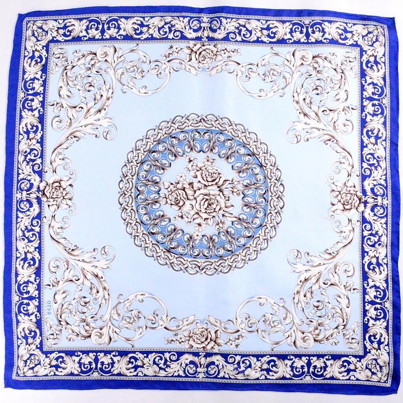 [BYSIFA] Bleu Blanc Foulard en soie Mesdames Châle style chinois classique Fleurs 100% twill de soie carré Echarpes Wraps pour le printemps Automne