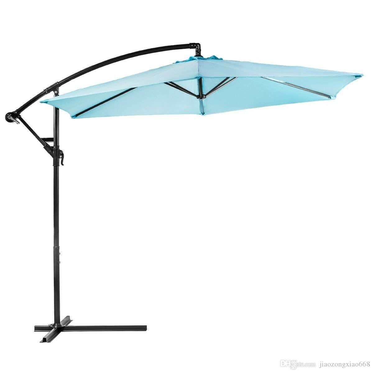 10피트 야외 데크 파티오 우산 끄기 기울기 캔틸레버 캐노피 아쿠아 매달려 설정