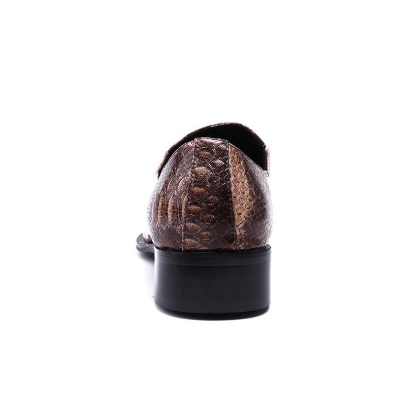 2020 primavera de vestido de boda del dedo del pie zapatos de los hombres del metal del cuero genuino del partido del trabajo de oficina Moda Calzado Night Club resbalón en los holgazanes