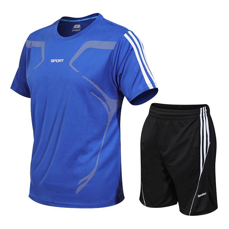 Además de secado rápido, camiseta deportiva Rashgard Gym, camisa de manga corta, camiseta deportiva y pantalones cortos para hombre, traje deportivo, camiseta de baloncesto de fútbol