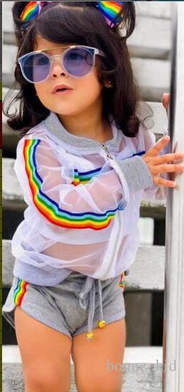 insieme all'ingrosso popolare dell'abbigliamento della ragazza 3pcs dei capretti della giacca trasparente di modo all'ingrosso della fabbrica + pantaloncini
