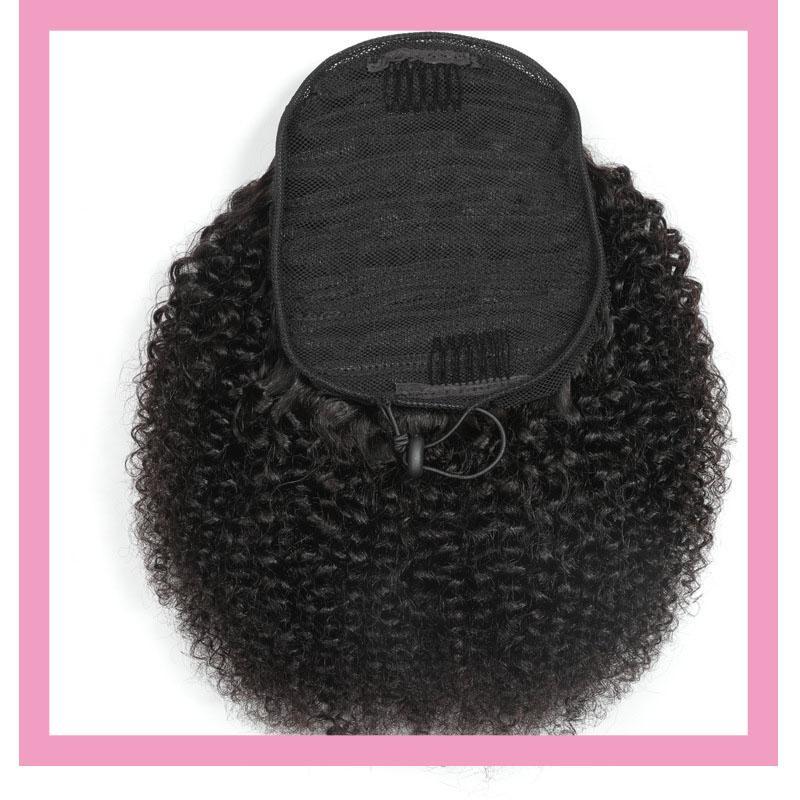 El color natural del pelo brasileño de la Virgen 100g / lot Las colas de caballo afro rizado rizado 8-22inch humano 100% Afro pelo rizado rizado cola de caballo