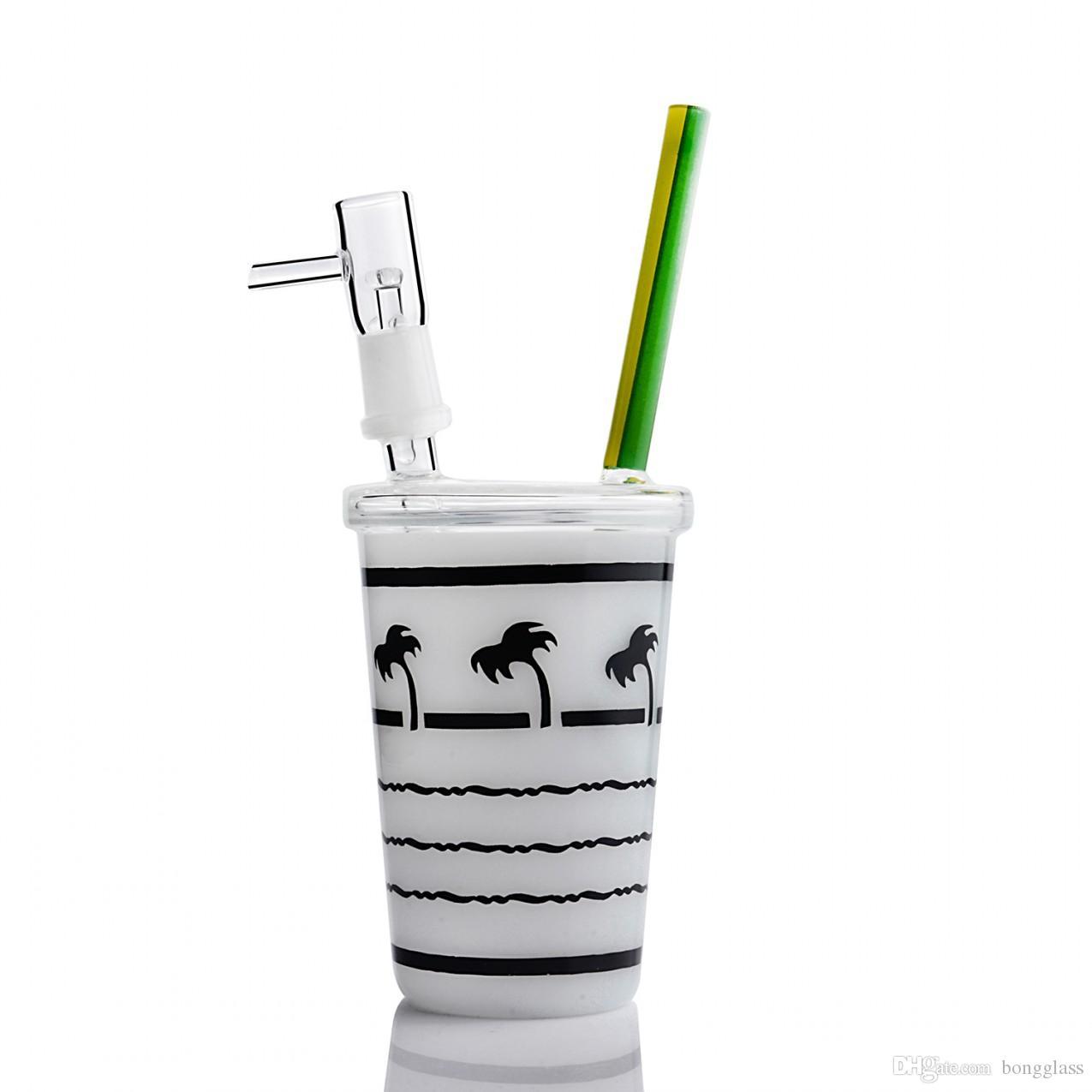 미니 Tarbuck 컵 오일 조작 유리 워터 파이프 14 mm 조인트 비커 봉 작은 heady Dab Rigs Hookahs Shisha 8.1 인치