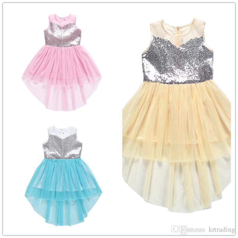 Kızlar Payetler parti tatil gündüz çocuk hediyeler için 3-7T Çocuk yaz kolsuz düz renk dantel etek kuyruk elbiseler çatallı