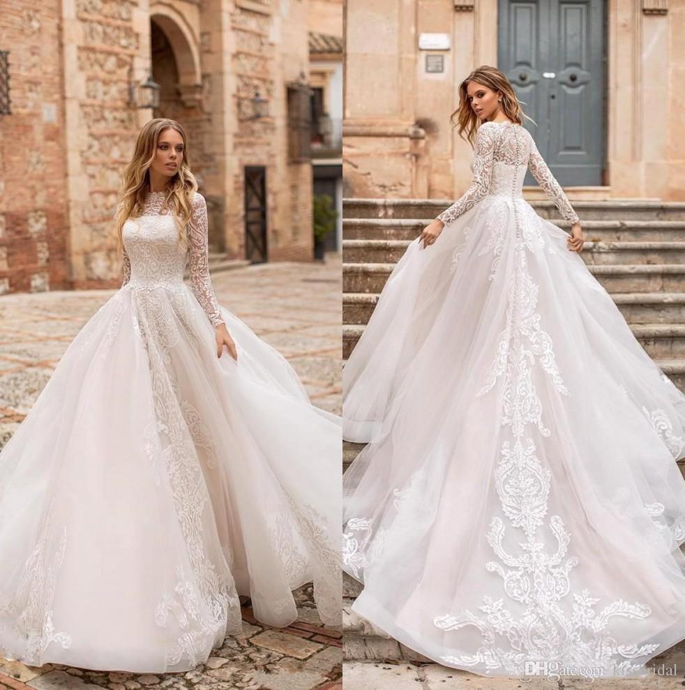 Acheter Col Rond Manches Longues Robes De Mariée 2019 Dentelle Vintage Robe  De Mariée Corset Robes De Mariée Longue Traîne Mariée Taille Robe De