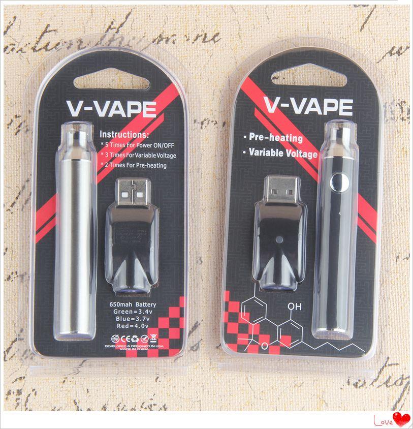 V-Vape LO Pré-aqueça EVOD VV Battery Battery Tensão Variável 650mAh com carregador USB para 510 cartucho de pré-aquecimento