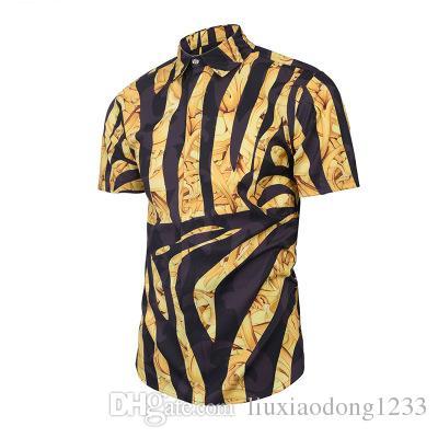 Yeni moda yaz giyim erkek zıt renkler zebra baskı 3D baskılı gömlek moda sokak gençlik erkek gömlek sıcak satıcılar