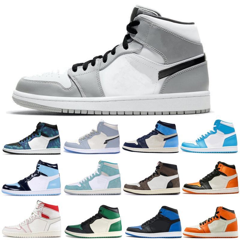 Jumpman 1 zapatos de baloncesto de los hombres baloncesto de los zapatos de las mujeres las zapatillas de running Deportes antorcha Hare Juego Green Court 36-46 Real pino