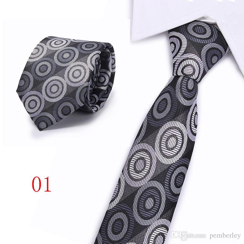 T101 Männer formale Bindung Geschäft Jacquard gestreifte Plaidbindung groomsman Mensentwerfer Krawatten Herr Polyesterfaser