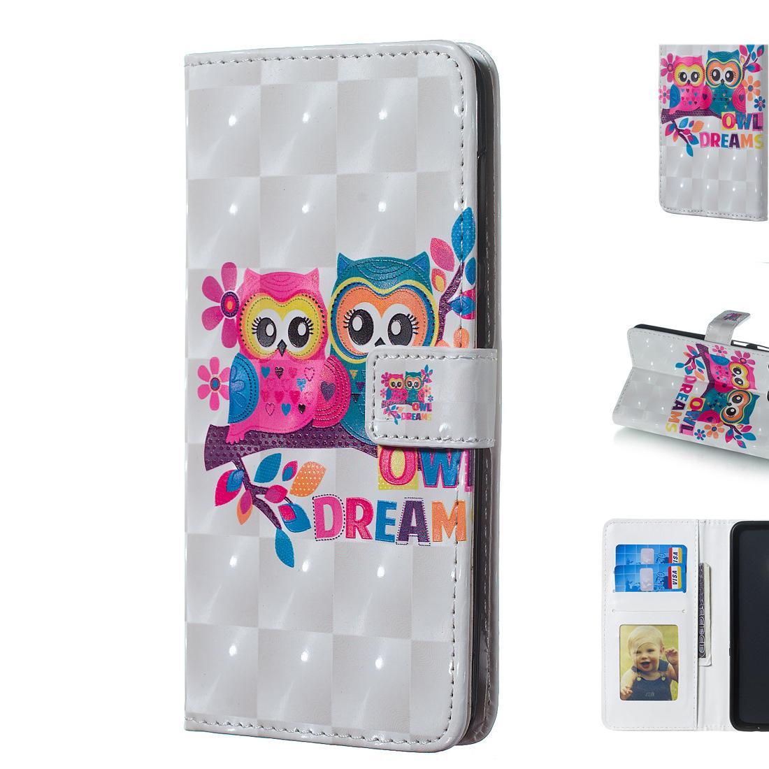 3D mignon trois dimensions hibou Couple modèle Mobile Phone Wallet Case Stand avec cadre photo