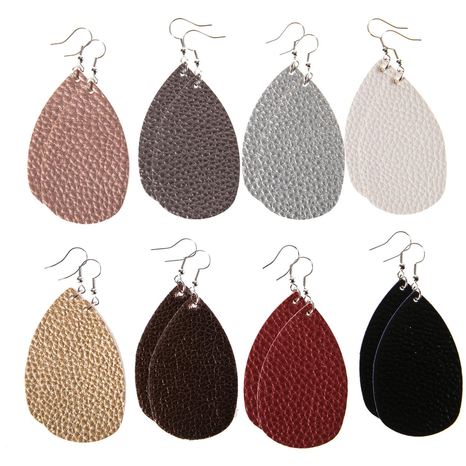 Bucket Form Two-sided Reunite With Leatherwear Earrings Pu Multicolor Leather Earrings