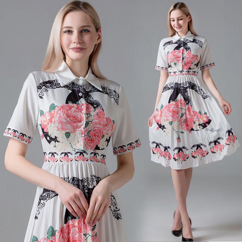 새로운 뜨거운 2020 여름 활주로 여성 fashon 옷깃 pleated 셔츠 드레스 우아한 숙 녀 꽃 프린트 슬림 캐주얼 오피스 버튼 반팔 드레스