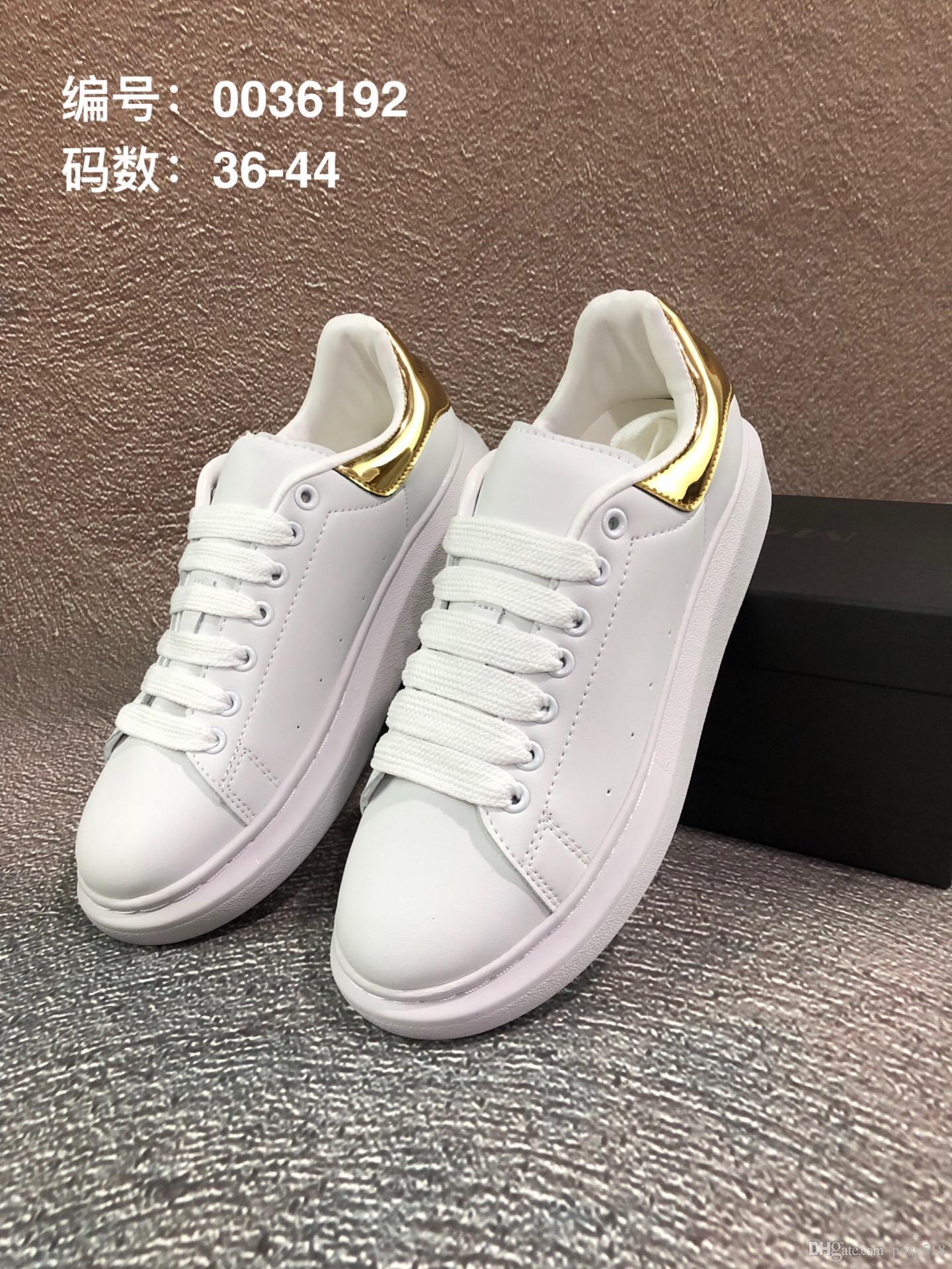 Box 35-44 ile Moda Lüks Tasarımcı Kadın Ayakkabı Erkek Deri Beyaz / Altın Sneakers Erkek Kadın Platformu Eğitmenler Ayakkabı 2019