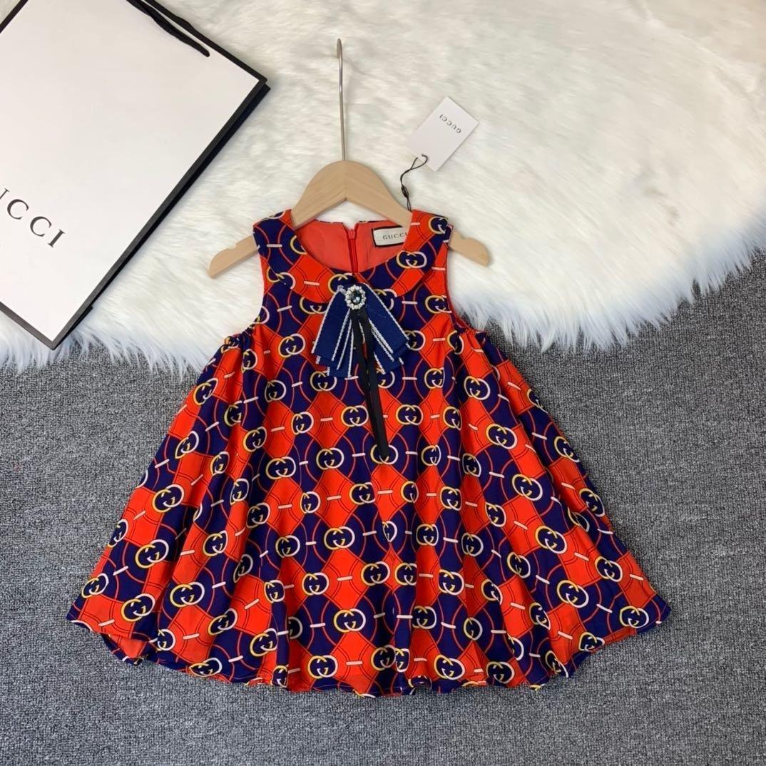 Vestido de niña atmósfera de alta calidad de impresión carta collar del bebé del chaleco del vestido 030916