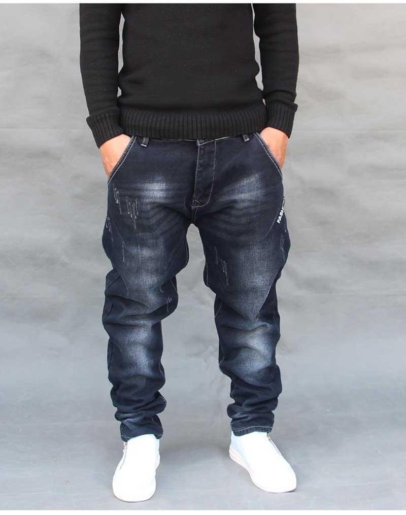 Mode Hip Hop Harem Jeans Herren Jogger Hosen Jeans Lange Stretch los Baggy Denim Blue Hosen Designer Herren-Bekleidung