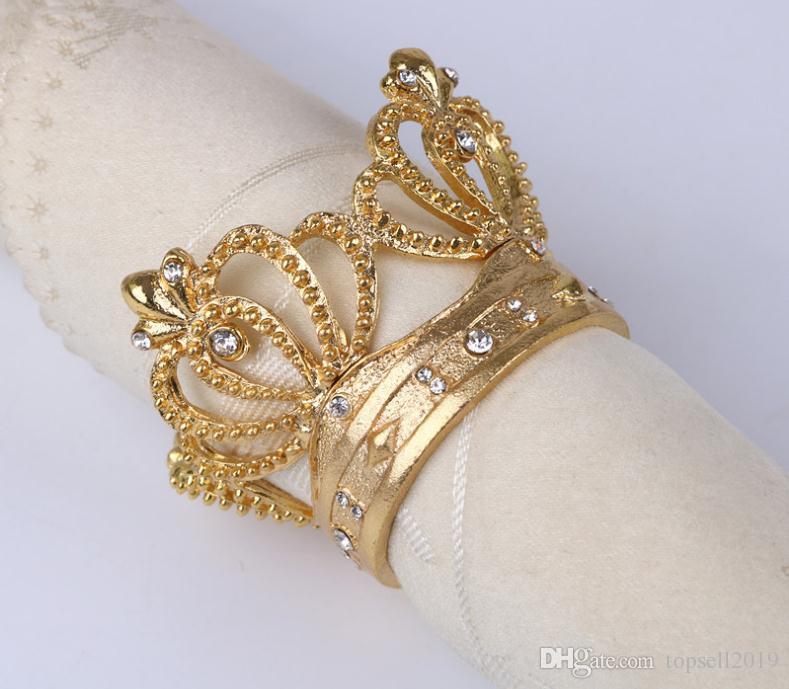 Corona del anillo de servilleta de metal Forma de la corona con imitador de diamante Servilletero para la decoración de la mesa de la boda en casa
