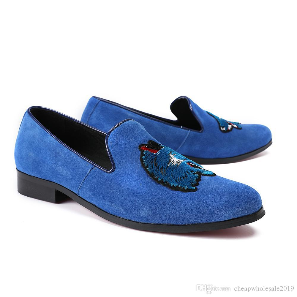 Broderie À La Mode Hommes Mocassins De Mariage Banquet Hommes Robe homme paty chaussures de bal Bleu Italien Slip Décontracté Sur Hommes Appartements Plus La Taille