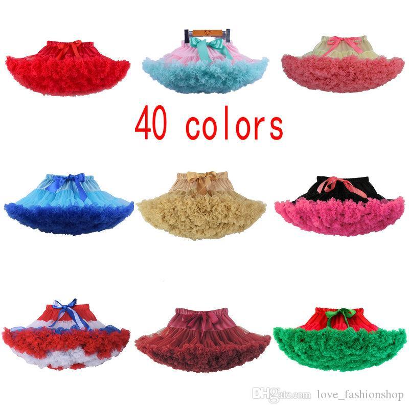 40 färger detaljhandel jul baby flicka designer kläder tulle kjol tutu fjäril ruffle pettiskirt kjolar korta kjolar boutique kläder