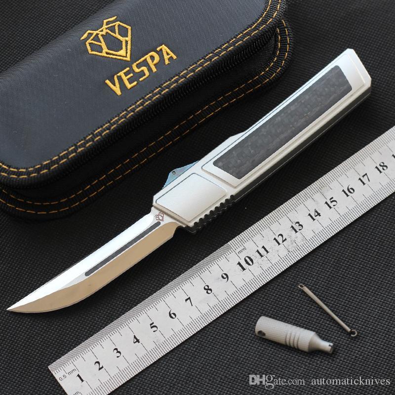 Alta qualità VESPA Ripper doppio bordo Knife M390 lama in fibra di carbonio della maniglia lame di caccia di campeggio esterna di sopravvivenza di EDC della tasca tattica